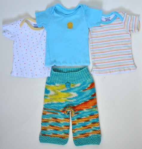 "NB/XS/0-3 Months ""Beach Boy"" Merino Longies and 3 Matching Lap Tees"