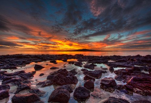seascape sunrise portfolio takapuna rangitoto bracketed