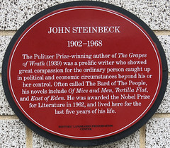 Photo of John Steinbeck red plaque
