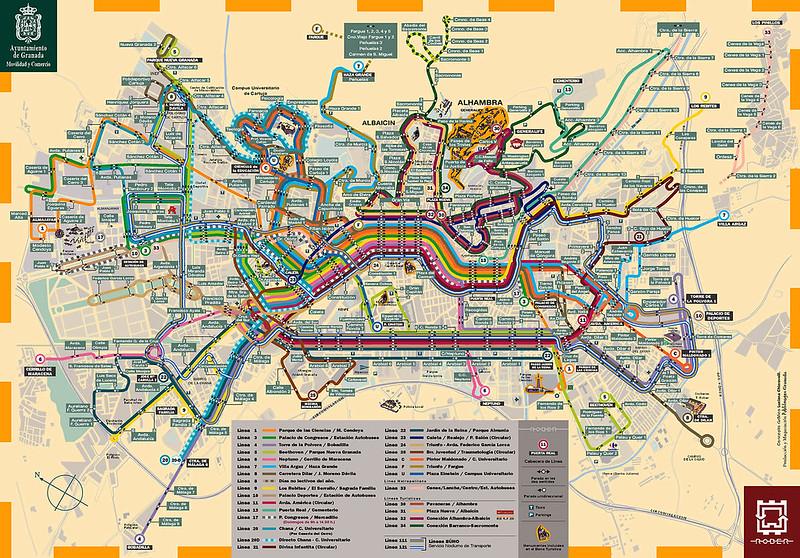 Mapa Autocarro / onibus em Granada