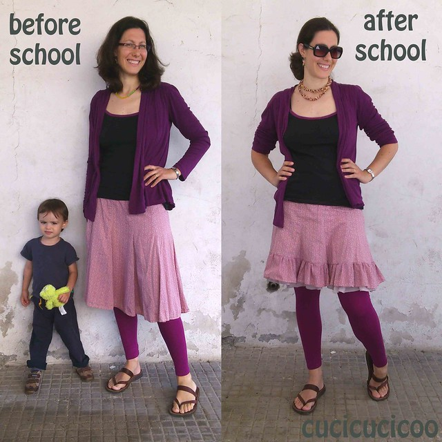 Double ruffle skirt: before and after