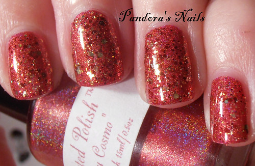 Shimmer Polish Rochelle over Enchanted Polish Cranberry Cosmos 3