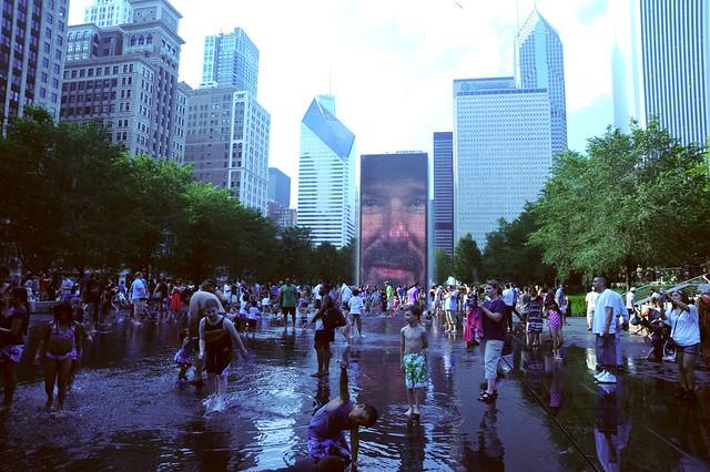 Children, face fountain, water, skyscrapers, Millennium Park, Chicago, Illinois, USA