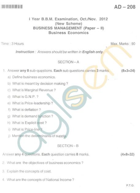 Bangalore University Question Paper Oct 2012I Year BBM - Business Econamics