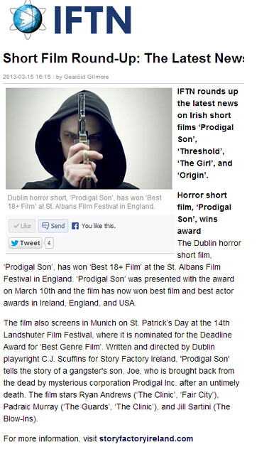 Prodigal Son - IFTN on St Albans Win 2013