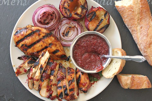 Grilled honey-balsamic chicken with red onion plum sauce recipe