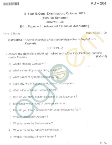 Bangalore University Question Paper Oct 2012:II Year B.Com. - Commerce Advanced Financial Accounting