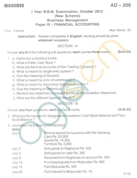 Bangalore University Question Paper Oct 2012I Year BBM - Business Management Paper III : Finanacial Accounting
