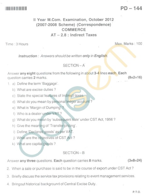 Bangalore University Question Paper Oct 2012 II Year M.Com. - Commerce Indirect Taxes