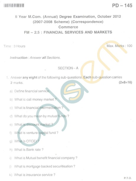 Bangalore University Question Paper Oct 2012 II Year M.Com. - Commerce FM - 2.5 Financial Service And Markets