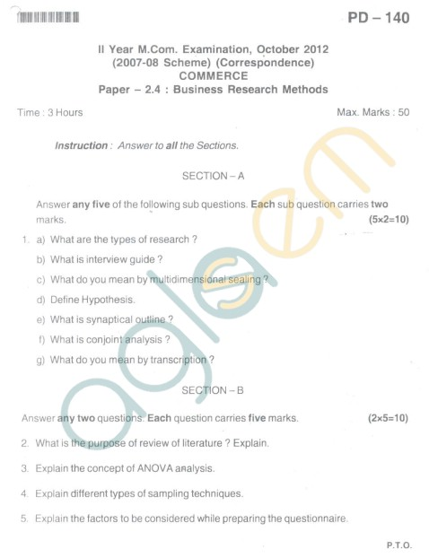 Bangalore University Question Paper Oct 2012II Year M.Com. - Commerce paper - 2.4 Business Reaserch Methods