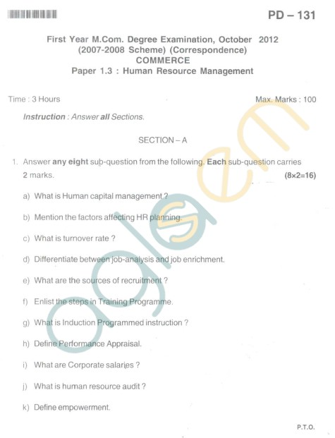 Bangalore University Question Paper Oct 2012 I Year M.Com. - Commerce Human Resource Management