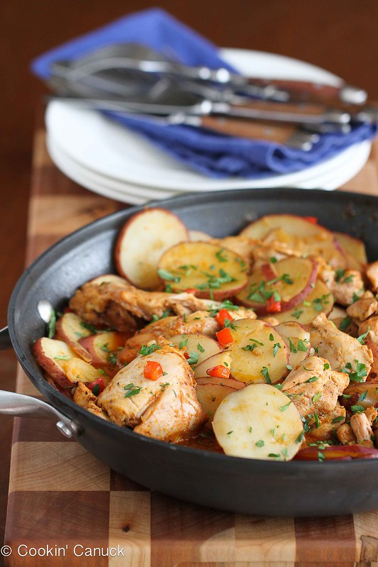 One-Pot Cumin & Smoked Paprika Chicken with Potatoes Recipe | cookincanuck.com #recipe #chicken