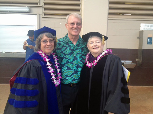 <p>From left, Kauai Community College Chancellor Helen Cox, University of Hawaii Foundation trustee Jim Lally and UH President M.R.C. Greenwood</p>