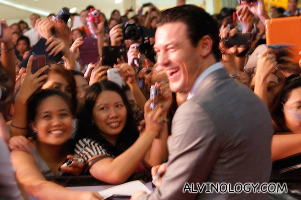 Luke Evans greeting fans