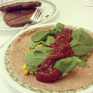 Day135 Breakfast for dinner. Tofu Scramble Burrito and Chocolate Pancakes! Yum! 5.15.13 #jessie365 #veganfood