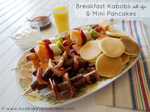 Breakfast Kabobs with dips & Mini Pancakes