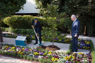 President Barack Obama and President Shimon Peres of Israel plant a magnolia tree, a descendant from a tree growing on the White House grounds, at the President¹s residence in Jerusalem, March 20, 2013. (Official White House Photo by Chuck Kennedy)