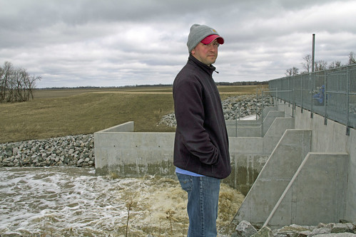 Kevin Gietzen, NRCS District Conservationist, views the Snake River Diversion Structure near Warren, Minnesota. (NRCS photo/ Julie MacSwain)