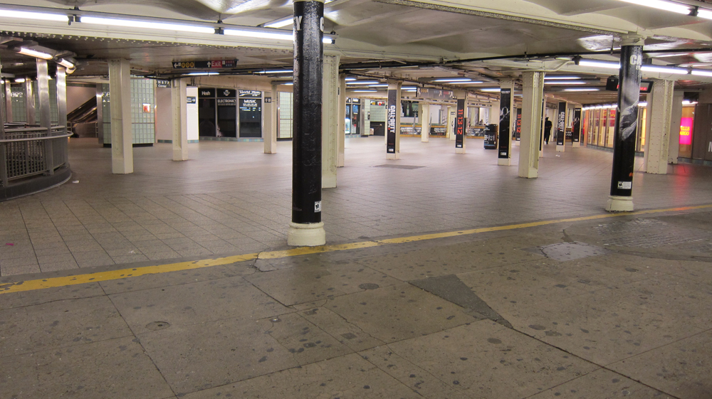 Times Square subway station shutdown during hurricane Sandy