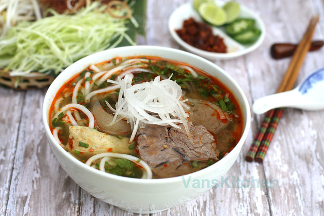 Vietnamese spicy beef noodle soup