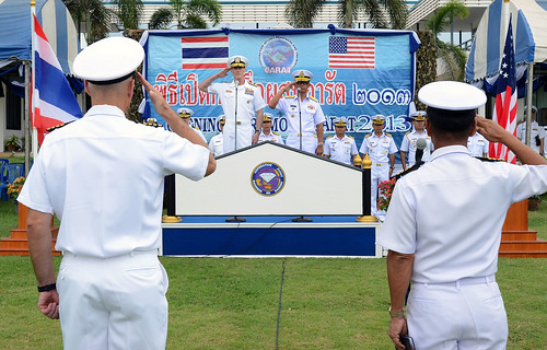 U.S. Rear Adm. William McQuilkin and Royal Thai Navy Rear Adm. Paitoon Prasopsin speak to exercise participants and guests.