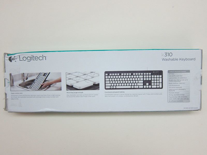 Logitech K310 Washable Keyboard - Box Back