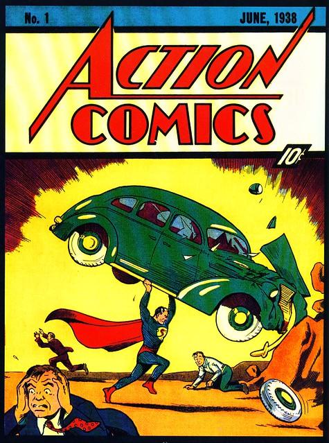 La couverture d'Action Comics 1 (daté de juin 1938) qui paraît en avril 1938 (trois jours avant Spirou)