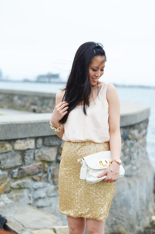 C. Luce gold sequin dress