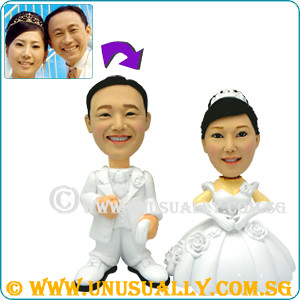 Unusually Custom 3D White Wedding Couple Lovely Figurines in Singapore - @www.unusually.com.sg