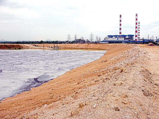 A fly-ash dam near NTPC in Korba.