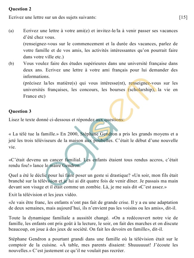 ICSE Class 10 French Sample Paper (Group 1)