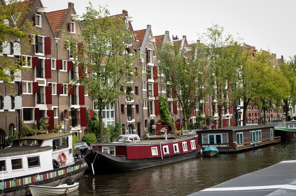 Amsterdam, Canal Houses with Wooden Shutters