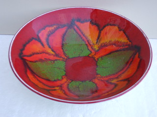 Poole Pottery Delphis Orange & Green Abstract Design Bowl Mid Century Modern 1970's
