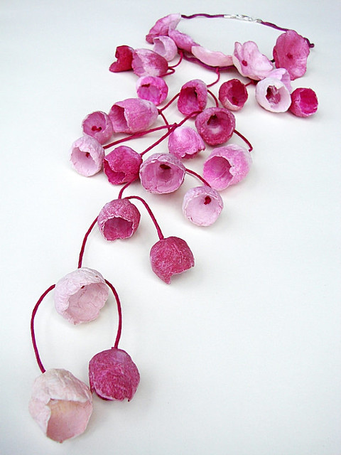 Pink Paper Flowers Necklace by Alessandra Fabre Repetto