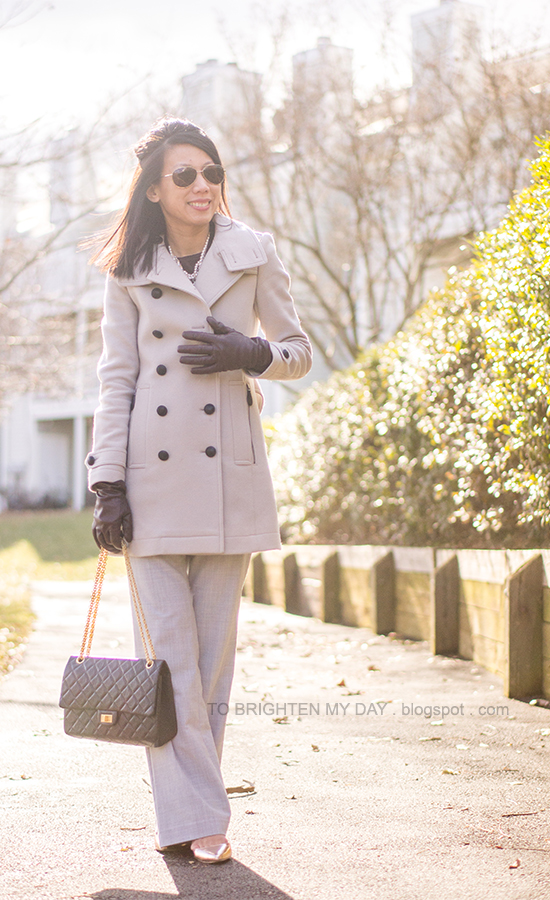 gray wool trench coat, purple gloves, gray pants, rose gold metallic wedges