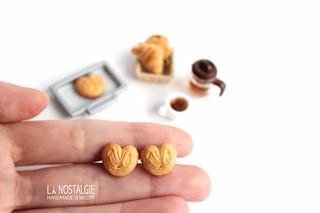 Heart shaped palmier cookie ear studs by la nostalgie handmade jewelry