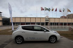 automobile, vehicle, nissan leaf, electric car, city car, land vehicle, hatchback,