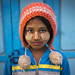 Young Chin Girl With Thanaka On The Face And A Woolly Hat  , Mindat, Myanmar by Eric Lafforgue