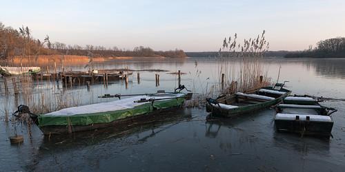 winter lake ice water landscape boat