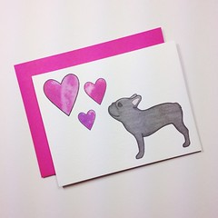 Something #new coming to the shop soon! #stationery #card #frenchbulldog #frenchie #buhi #frenchbulldogsofinstagram #hearts #illustrated #lizlangley #pink #gray