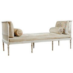 Painted Banquette or Daybed with Old Hand-Painted Fabric, Scandinavian, c. early 1800's