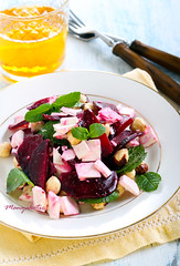 Beetroot, feta, hazelnut and mint salad