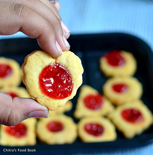 Eggless jam biscuit recipe