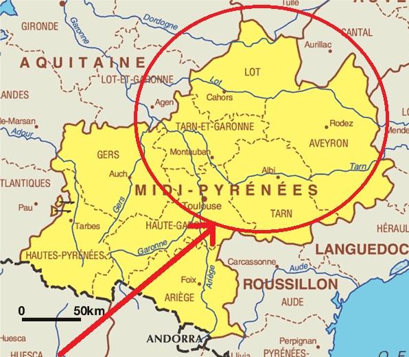 Mapa de Midi-Pyrenées (Francia)
