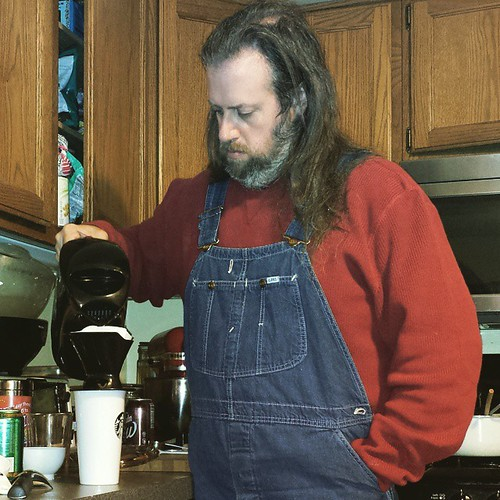 Pourover time for coffee. Urgleblurgle. #coffee #notawakeyet #overalls #vintage #Lee