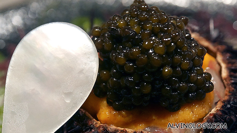 The right way to eat it is to use this specially provided mother-of-pearl spoon to mix the sea urchin, shrimp and caviar together