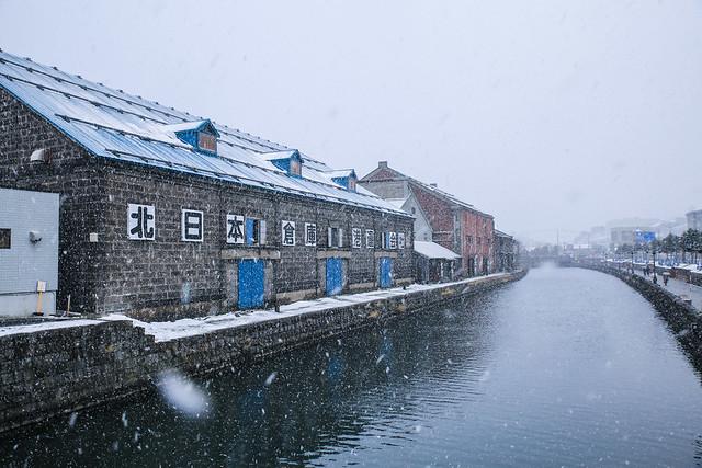 大雪中的小樽運河