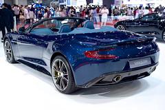 Blue Aston Martin Vanquish Convertible at the 36th Bangkok International Motor Show