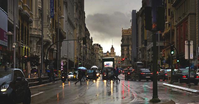 rainy day on Gran Via, Madrid (2016)